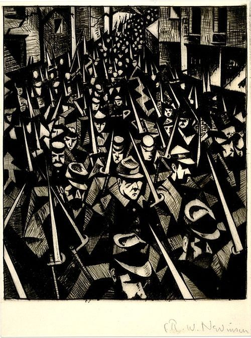 CRW Nevinson, 'Returning to the Trenches', 1914