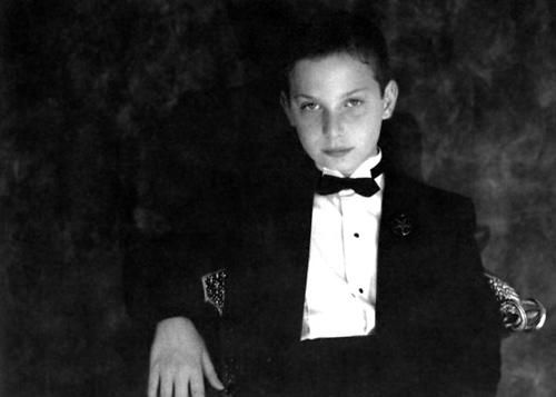 "10 year old Stanton LaVey in tuxedo portrait taken for the Anton LaVey biography ""Secret Life of a Satanist""  photo by Gisela Getty"