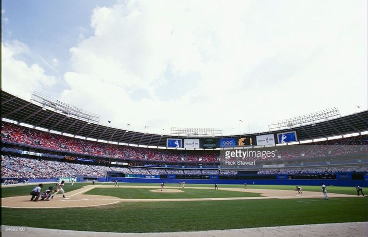 A general view of Fulton County Stadium taken during a baseball game between Team Nicaragua and Team USA on July 20,1994 at the 1996 Olympic Games in Atlanta, Georgia.