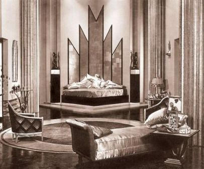1930 S Deco Movie Sets This Early Movie Featured A Fabulous Bedroom With Miles Of Slipper Art Deco Designart