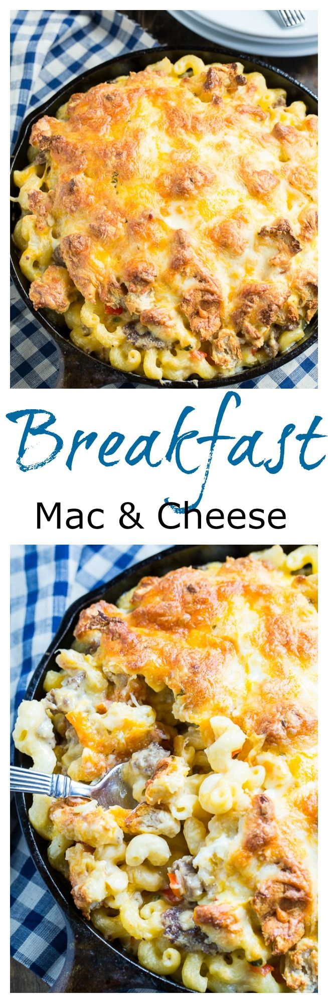 Who says you can't eat mac and cheese for breakfast? This one has tons of sausage and a crumbled biscuit topping!