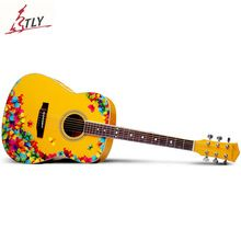 "NEW SAYSN 41"" Printing Art Acoustic Guitar Rosewood Fingerboard High Quality Beginner Guitarra With Backpack Capo Strap Strings(China)"