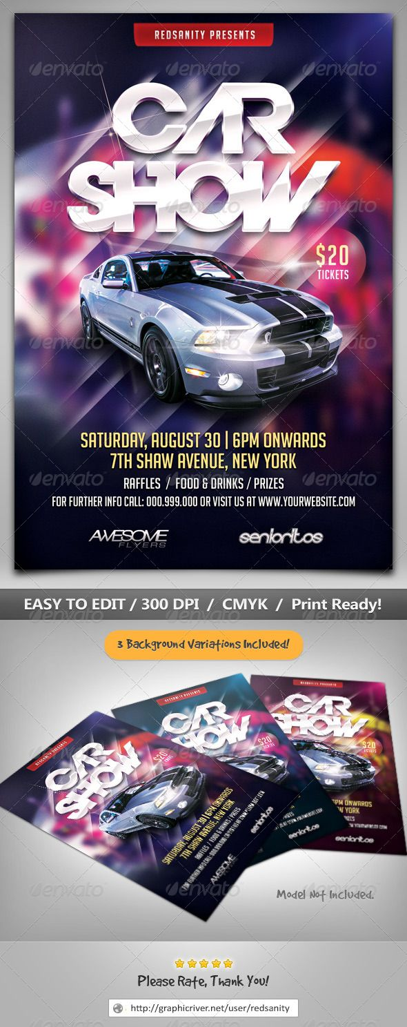 Graphicriver Muscle Car Show Flyer Car Show Flyer Template Flyer - Blank car show flyer