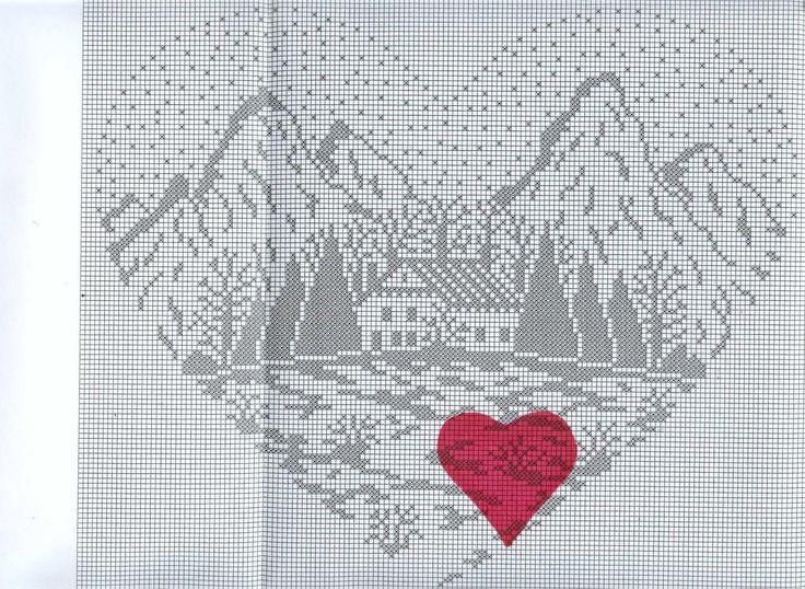 Cross stitch pattern, mountain cottage.
