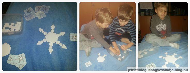 Építsd meg a hópelyhet! pszichologusnagycsaladja.blog.hu Nyomtatható:http://www.makinglearningfun.com/themepages/SnowflakeVisualDiscriminationActivity.htm