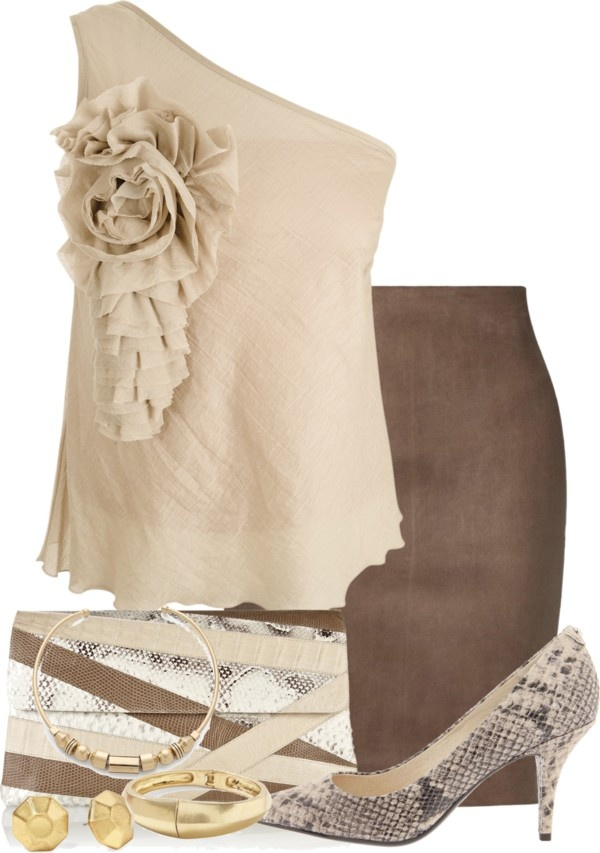 """""""Brown Leather Skirt"""" by glamatarian ❤ liked on Polyvore"""