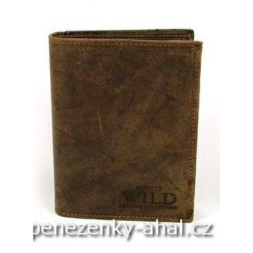 Kožená pánská nezapínací peněženka vyrobená z pravé masivní kůže. Oblíbená značka Always Wild.