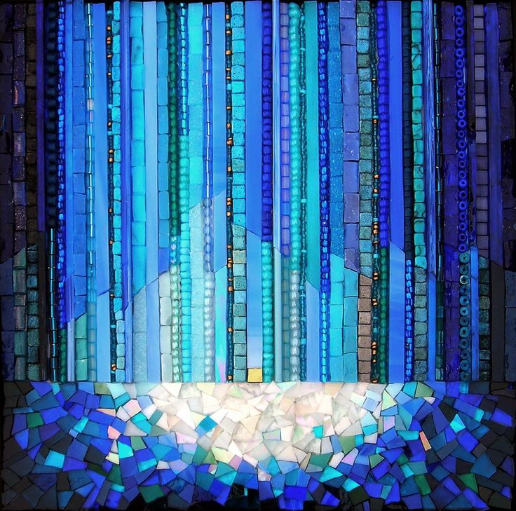 "Sanctuary - 8"" x 8""  Smalti, stained glass, ceramic tile, vitreous, stone, beads, millefiori, gold - Kathy Thaden  Mosaic Fine Art  Design & Commissions  Golden, CO"