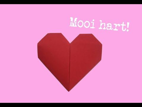 gevouwen hart van papier maken - hartje vouwen - makkelijke uitleg - vouw-instructie - YouTube