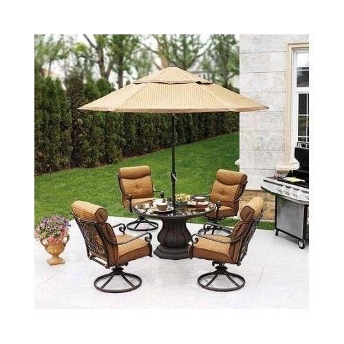 Garden Oasis Providence 5 Piece Swivel Dining Set: Outdoor Patio Dining Set 5 Piece Swivel Chairs Glass Top