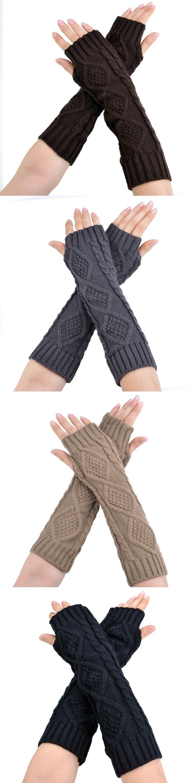 Fashion Female Gloves Hand Knitted Half Fingers Warmer Winter Gloves Long Gloves for Women Female Arm Warmers