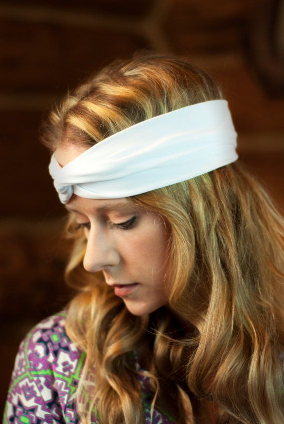 White Headband Cute Hair Accessory Twisted by ForgottenCotton