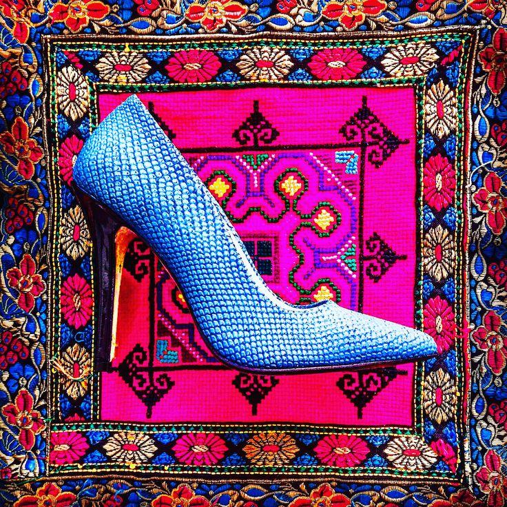 Brighten up your day in Zurbano AZZURRO bright blue stilletos.