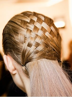 Beautiful basket weave half-up do