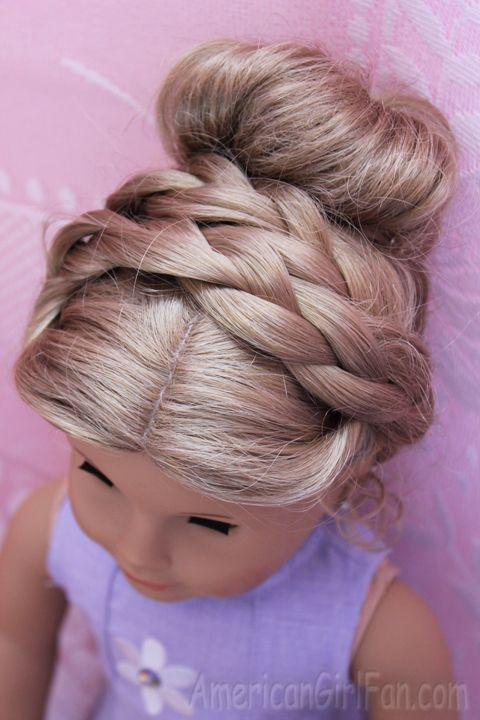Doll Hairstyle: Fancy Buns for Easter! - http://www.americangirlfan.com/2014/04/doll-hairstyle-fancy-buns-for-easter.html
