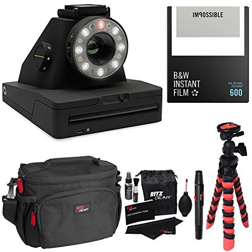 Impossible Project I1 Analog Instant Camera With Impossible PRD4516 Polaroid 600 and Instant Lab Black and White Film Ritz Gear Deluxe DSLR Camera Bag Flexi Tripod and Cleaning Kit *** Check out this great product.