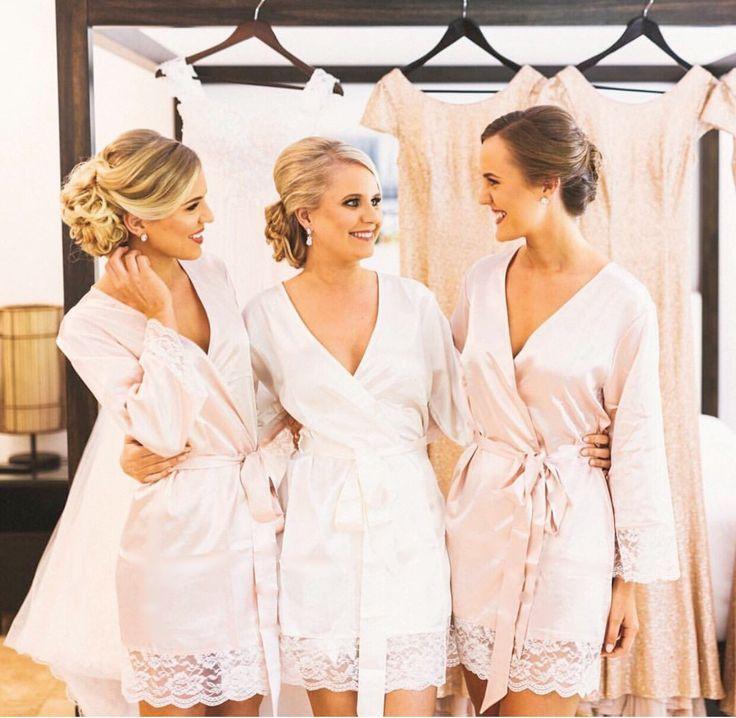 Homebodii Real Brides   Sian ivory bridal robe & Bella blush bridesmaid robe