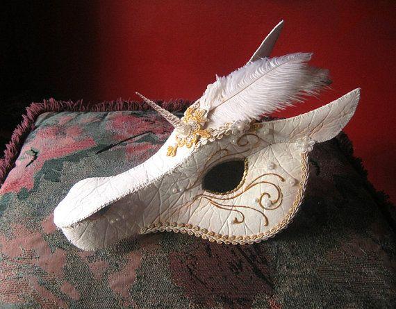 White and Gold Unicorn Mask  Handmade Mask by LaPetiteMascarade, $300.00