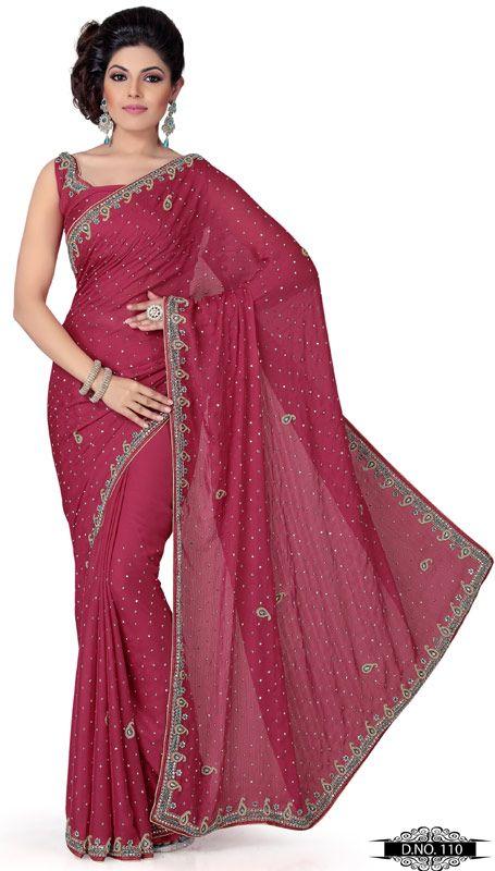 Gajri Pink Color Faux Georgette Designer Saree TYS110. Save: 5% off