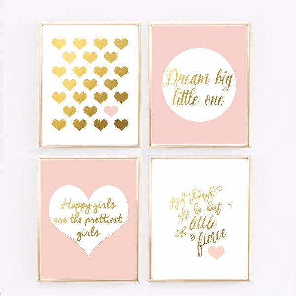 Pink Nursery Art - Blush and Gold Prints - Set of 4