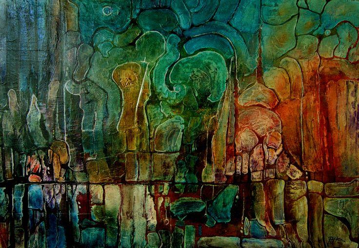 Mokradła II, 100x70cm,oil on canvas,2010, Barbara Hacura