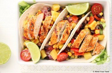 Wraps met kip in limoen marinade en gegrilde ananas