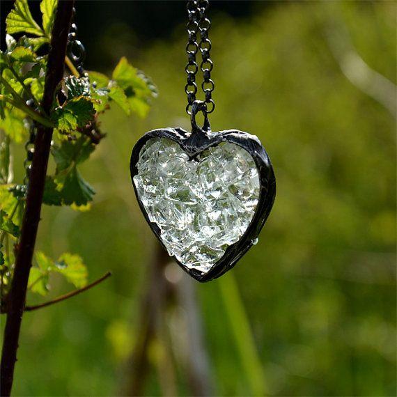 CRYSTAL HEART romantic necklace heart pendant от JoannaJagoda