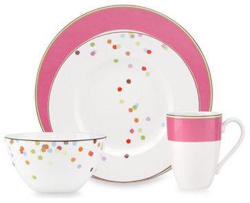 Kate Spade New York Market Street Pink 4-Piece Place Setting contemporary dinnerware sets
