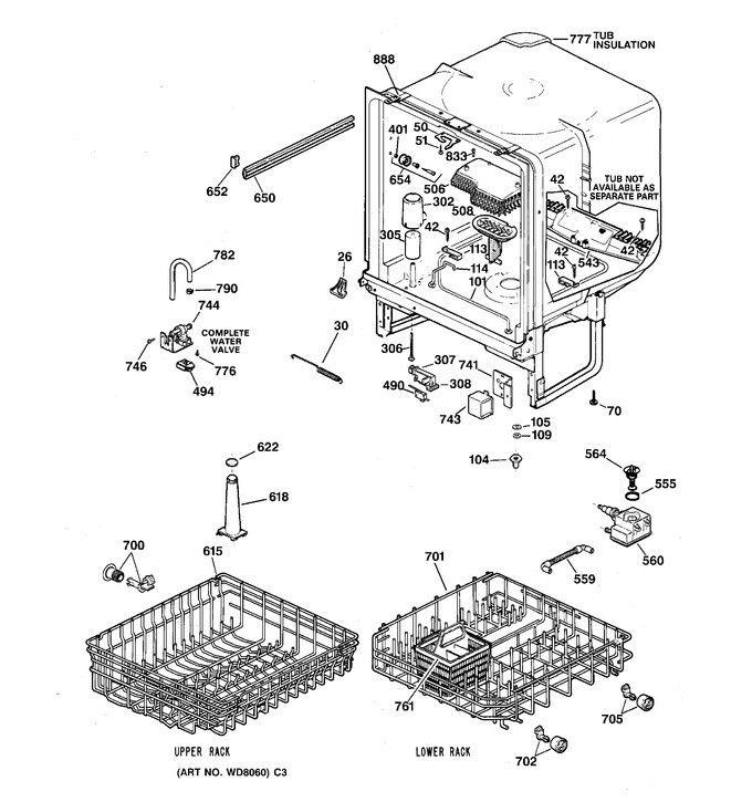 Hotpoint Dishwasher Refurbished Lower Rack HDA352-06 AD