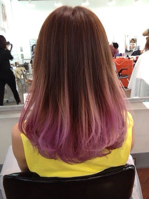 I want a really subtle color on the ends of my hair like this faded pastel purple