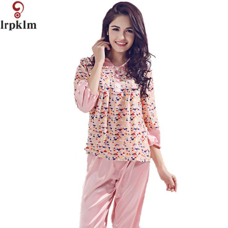 Women Satin Faux Silk Pajama Sets  Embroidery O-Neck High Quality Lady Sleep Pants Suit Casual Sleepwear Pajamas Set SY584 #Affiliate