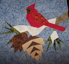 Free Paper Piecing Quilt Blocks | am missing one green leaf and the dark pine cone top left edge ...