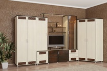 Модульная система Премьера для гостиной комнаты и спальни.Большое количество модулей (мини-стенка,угловые шкафы,шкафы для одежды,тумбы под телевизор,стеллажи,кровати,тумбы прикроватные,стенка) поможет Вам собрать свою неповторимую гостиную.