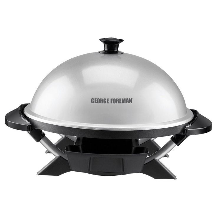 George Foreman Indoor/Outdoor Electric Grill, Silver/Black