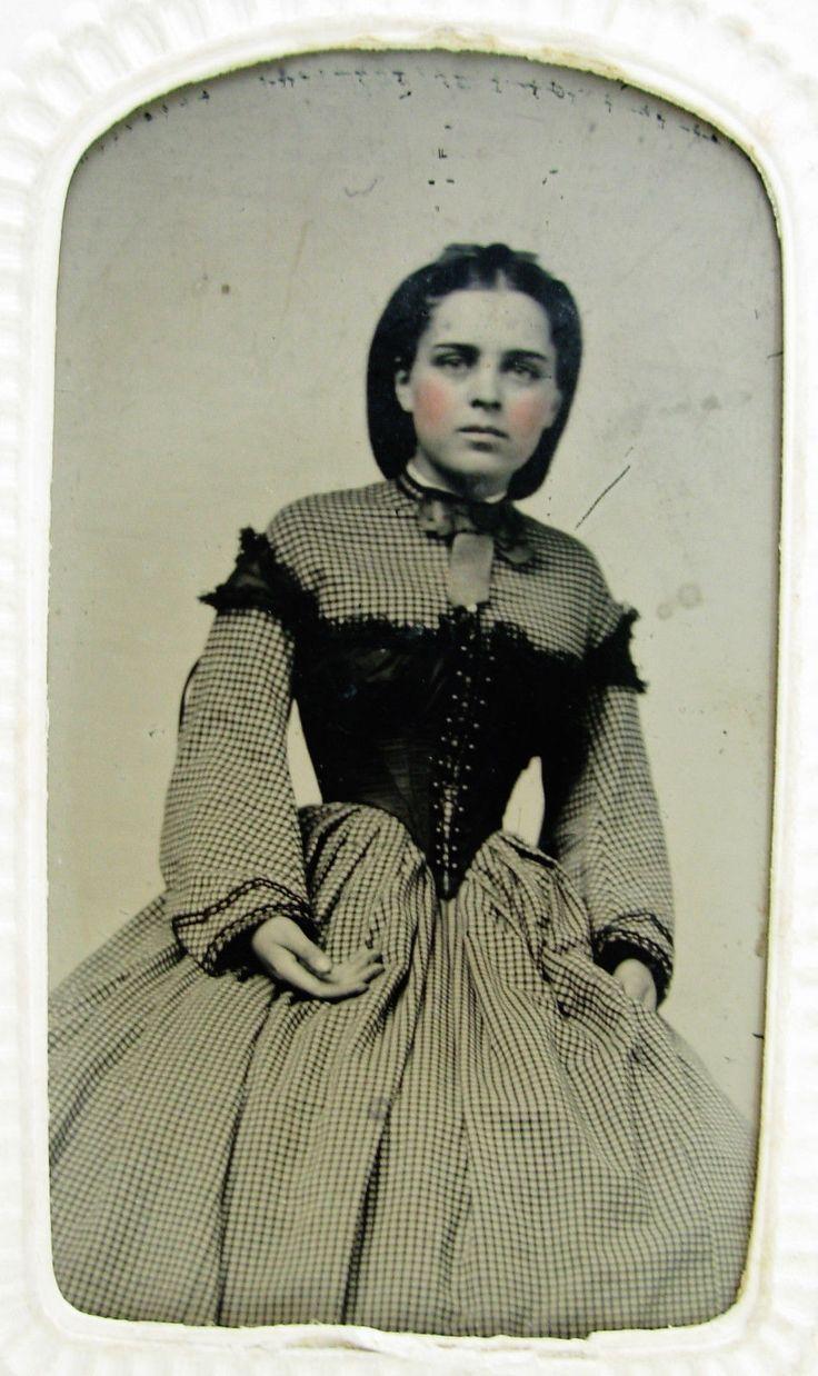 Antique Civil War Era Tintype Photo Young Beauty Checked Hoop Dress Corset Top | eBay