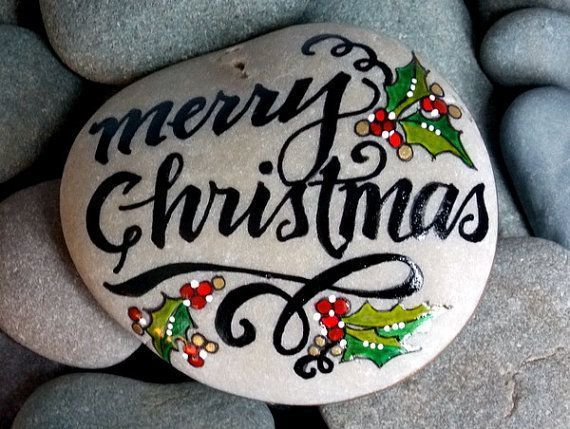 Merry Christmas / painted rocks / holiday decor / painted stones / art on stone / art rocks /rocks / beach stones / holiday decorations