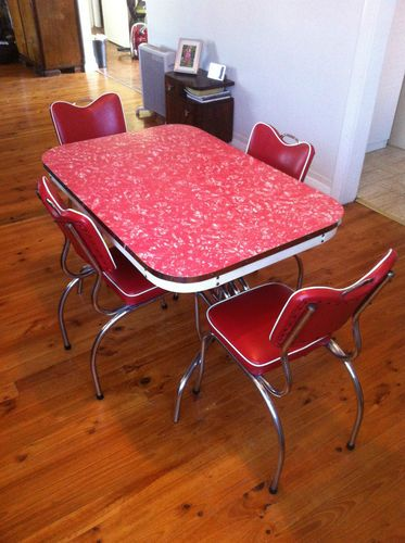 ART Deco Retro 50u0027S 60u0027S RED Laminex Dining Table AND Matching Chairs