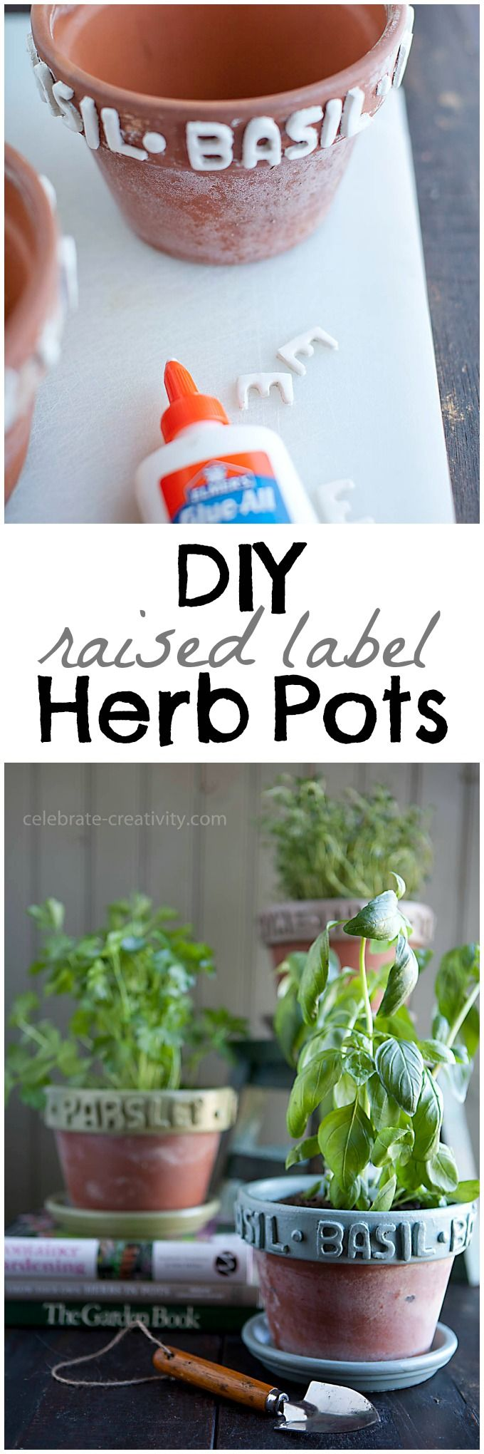 These DIY Raised Label Herb Pots are inexpensive and such a cute way to grow herbs! featured on Ella Claire