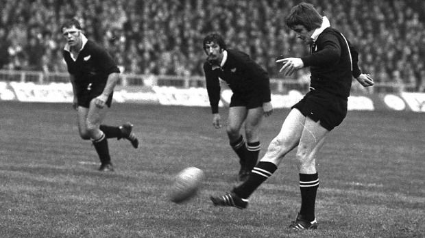 //+// All Black Brian McKechnie takes the big kick anxiously watched by hooker Andy Dalton and skipper Graham Mourie in Wales in 1978.