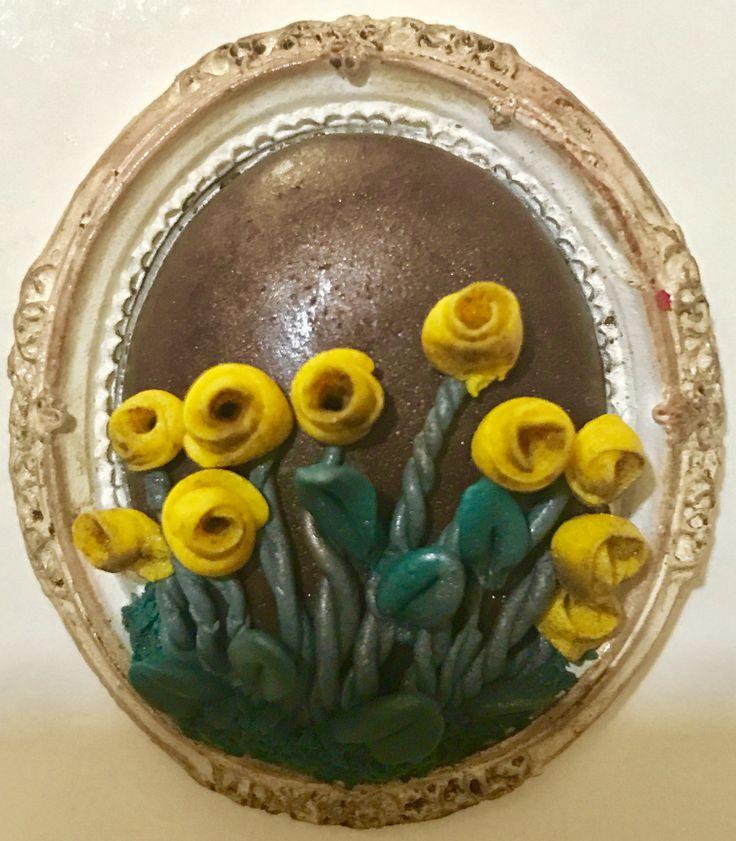 Fimo flower brooch no1