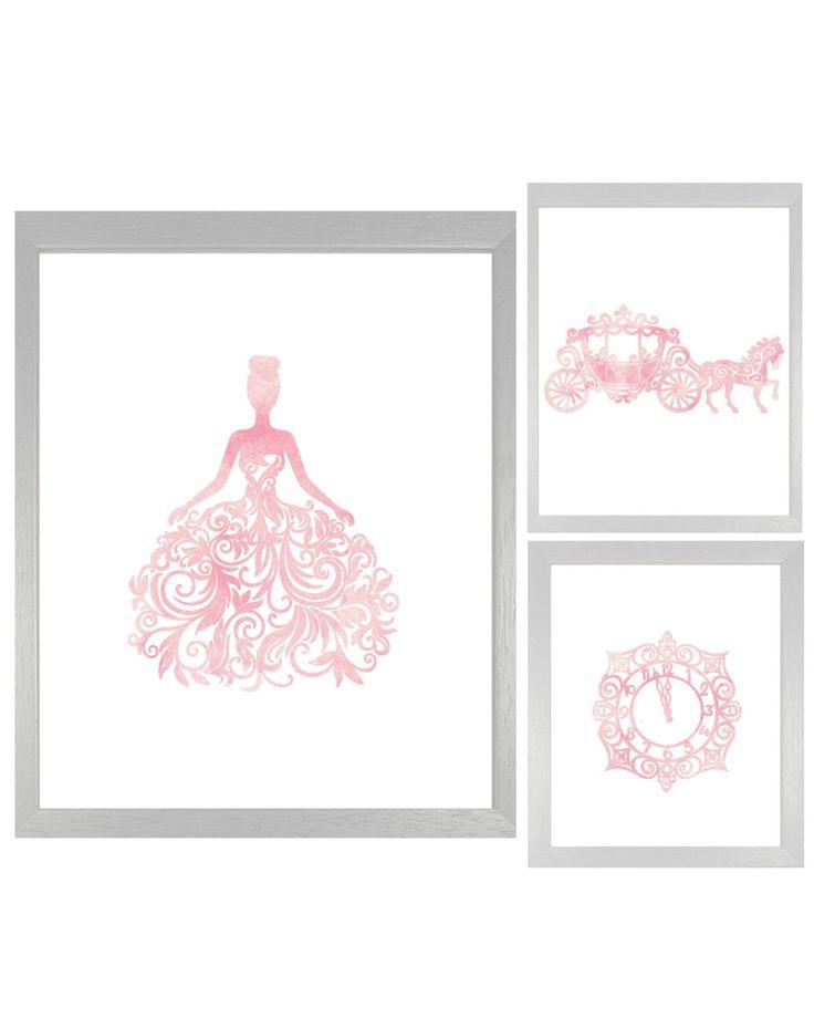 Pink Princess Cinderella Art Collage, Pink Watercolor Disney Art, Disney Nursery Wall Art Decor Print Poster, DIY Disney,1 8x10, 2 5x7x, DIY by JoshandDavids on Etsy https://www.etsy.com/listing/248892465/pink-princess-cinderella-art-collage