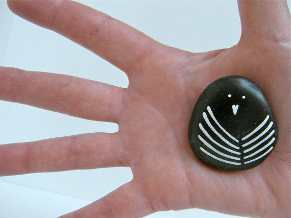 bird painted stone small size by artinredwagons on Etsy