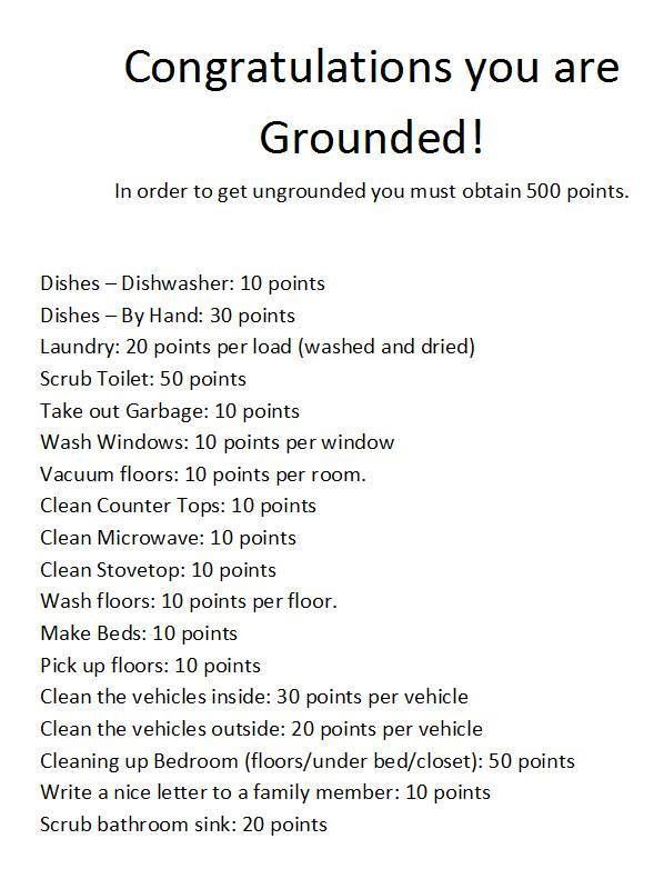 Printable Congratulations You Are Grounded Grounded Pinterest - babysitter duties