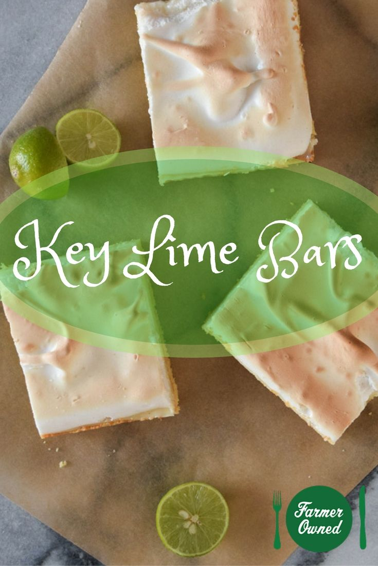 Key Lime Bars. The crumbly #cookie crust, tart filling and cloud-like meringue topping are so #easy to make and can be whipped up in a snap! #recipe #dessert #lime