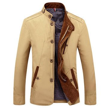 Mens Casual Slim Fit Zipper Single-breasted Cotton Fashion Jacket