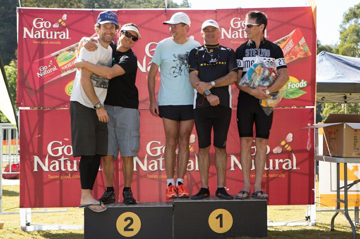 Go Natural Multisport 2013 - Ku-ring-gai Chase NP, NSW. Far-left: Darryl Nelson. Hugging the far-left: Paris Basson. Both of Team Magellan, who placed 2nd in the men's event. See more: http://www.magellangps.com.au/blog/race-report-go-natural-multisport-ku-ring-gai-chase-np-nsw/