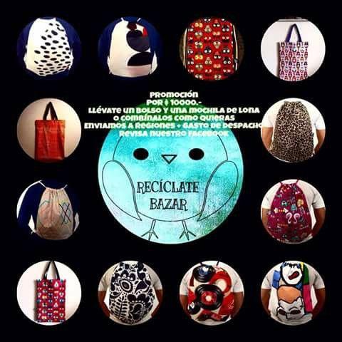 Amigos #reciclalovers,  les dejo el catálogo de las nuevas mochilas de #lona que tiene Reciclate Bazar,  son antimanchas,  con filtro UV,  visiten el fanpage y conozcan los nuevos diseños.  #Ecofriendly #viña #valpo #vinilo #lona #psicodelia #flores #buhos
