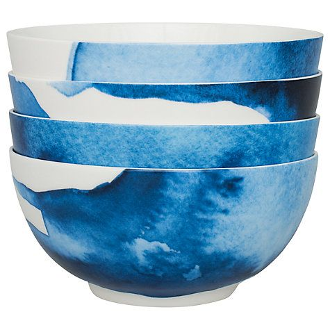Buy Rick Stein Coves of Cornwall Medium Pasta Bowl, Set of 4, Blue/White, Dia.21cm Online at johnlewis.com