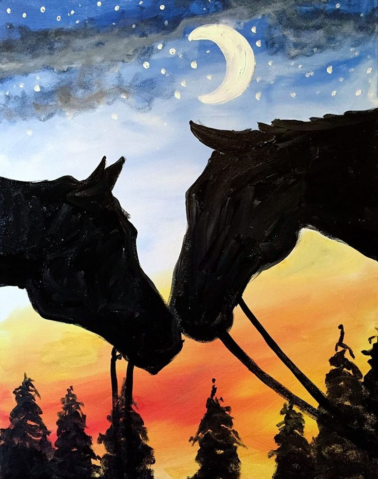 Night Nuzzle, horse silhouettes against sky and moon, beginner painting idea.