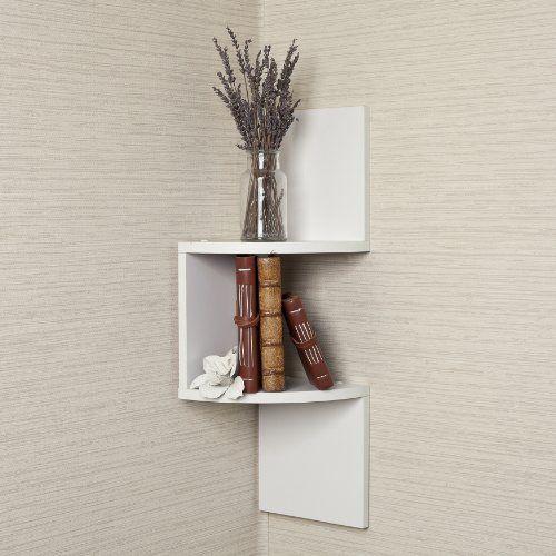 Laminated Corner Shelf in White Finish $16.08 #bestseller